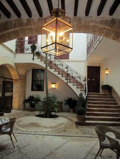 The courtyard of the Can Cera Luxury Boutique Hotel in Palma, Mallorca Mallorca Beaches, Spanish Courtyard, Balearic Islands, Stairway To Heaven, Majorca, Best Location, Beautiful Islands, Stairways, Strand