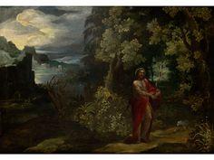 Johannes der Täufer in einer Landschaft Öl auf Leinwand. Doubliert. 91 x 127 cm. Gerahmt. Frühwerk. (1022435) Paul Bril, 1554 – 1626, attributed 17th...