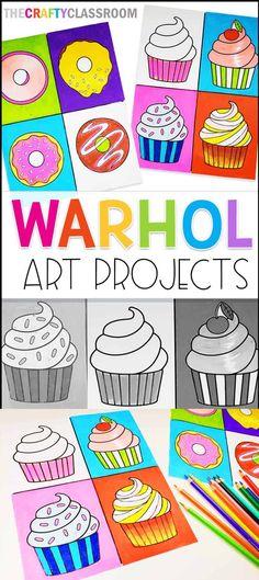Classroom Art Projects, School Art Projects, Art Classroom, Art History Projects For Kids, Art Club Projects, Summer Art Projects, Pop Art For Kids, Easy Art For Kids, Kids Art Class