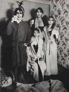 Tim Curry Nell Campbell Barry Bostwick and Susan Sarandon on the set of The Rocky Horror Picture Show