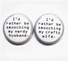 Geeky and crafty magnet set...this is my husband and I to a tee! (buttonempire on Etsy)