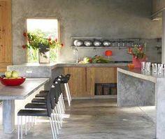 Inspiração de cozinha de cimento queimado