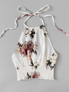 Shop Floral Print Frill Hem Halter Top at ROMWE, discover more fashion styles online. Crop Top Outfits, Mode Outfits, Summer Outfits, Casual Outfits, Fashion Outfits, Womens Fashion, Ideias Fashion, Girls Dresses, Crop Tops