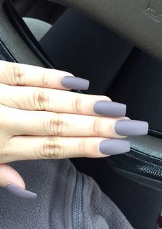 Long Square Matte Acrylic Nails i never seen this color on my nails and sadly wont be lol but its cute for ppl that can pull it off! Grey Matte Nails, Matte Acrylic Nails, Acrylic Nail Designs, Gel Nails, Nail Polish, Matte Black, Stiletto Nails, Black Nails, Coffin Nails