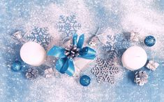 Download wallpapers New Year, white candles, gift, blue silk bows, decoration, winter, snow