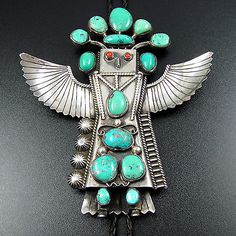 HUGE NAVAJO STERLING SILVER TURQUOISE CORAL EAGLE DANCER KACHINA BOLO TIE by SP