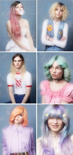 Pastel Prom By Bleach London - colour My Hairstyle, Pretty Hairstyles, Vintage Hairstyles, Wedding Hairstyles, Blue Hair, Pink Hair, Hair Inspo, Hair Inspiration, Hair Rainbow