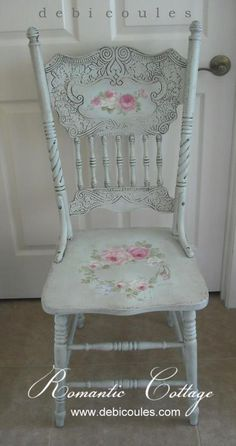 Debi Coules Shabby French Chic Art (perfect chair for my art nook! Hand Painted Chairs, Hand Painted Furniture, Repurposed Furniture, Shabby Chic Furniture, Vintage Furniture, Distressed Furniture, Kitchen Chairs Painted, Bedroom Furniture, Bedroom Chair