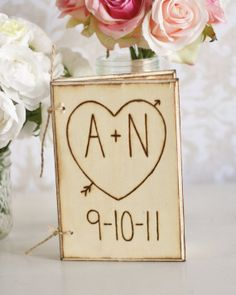 Rustic Wedding Guest Book Engraved Wood Heart With by braggingbags, $49.99