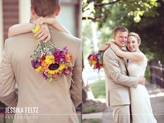 bride and groom poses, wildflowers, sunflowers, wedding bouquet, tan suit for groom