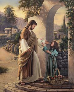 """Christ and a little girl. """"Pure In Heart"""" by Simon Dewey God and Jesus Christ Lds Pictures, Catholic Pictures, Church Pictures, Pictures Of Jesus Christ, Scripture Pictures, Images Du Christ, Image Jesus, Lds Art, Jesus Art"""