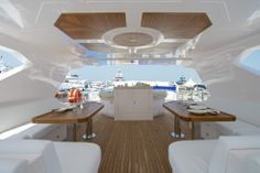 Nomad 75 fly-bridge bar and seating area. Visit gulfcraftinc.com for more information.