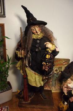 Extraordinary OOAK Handmade Witch Folk Art Doll by Kim's Klaus ~ Halloween