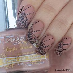 Freehand Lace Nail Design  by Yagala - Nail Art Gallery nailartgallery.nailsmag.com by Nails Magazine www.nailsmag.com #nailart