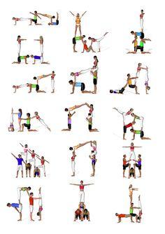 Womens Yoga Pants / Yoga Leggings, Running Leggings, Fitness Tights, Running Compression Tights, Yoga Clothes and Group Yoga Poses, Acro Yoga Poses, Partner Yoga Poses, 3 Person Yoga Poses, Aerobic, Acrobatic Gymnastics, Gymnastics Workout, Yoga Photos, Yoga Poses For Beginners