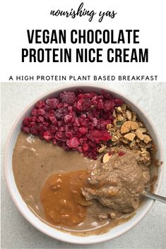 Vegan Chocolate Protein Nice Cream | A High Protein Plant based Breakfast | Nourishing Yas - Simple Plant based Recipes #vegan #veganrecipes #healthyrecipes #chocolate #nicecream #plantbased #veganbreakfast #glutenfree #veganprotein
