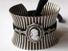 Oversized Silver Cuff  Black Cameo and Velvet by LeBoudoirNoir, $80.00