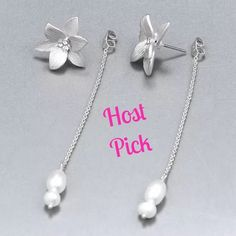 """HPSilver Floral/Rhinestone/Pearl Earrings STUNNING - Fashionable & Beautifully made, stud back earrings with floral design, crystals in center, chain tassels with white pearls dangling at ends. Can be worn two different ways - with or without the chain dangle. Approx. 4"""" LongPRICE IS FIRM UNLESS BUNDLED Boutique Jewelry Earrings"""
