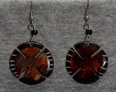 Circular hand carved  coconut shell earrings on Etsy, $10.00