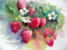 Watercolor painting Strawberries red garden