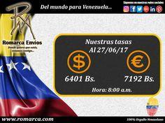 En Romarca ofrecemos nuestras tasas de cambio a las 08:00am 🕘 hora Este #Usa 🔛 #Venezuela 6401bsf/$ 7192bsf/€. 📍Visita nuestro sitio web para más información. #Usa  #Florida #Miami #Madrid #Japon #China #Chile #RomarcaEnvios