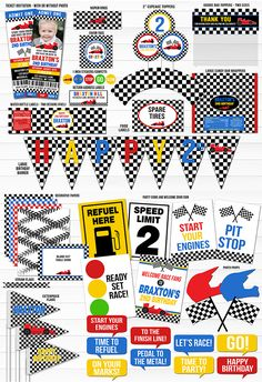 Printable Race Car Complete Birthday Party Package Decor | Race Car Ticket Invitation | Racecar, Nascar, Hot Wheels | Boys Race Birthday Decoration Ideas | Banner | Cupcake Topper | Favor Tag | Food Labels | Signs | Candy Bar Wrapper | High Chair Banner | Treat Bags and more!