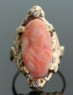 Antique Carved Coral Cameo Ring Depicting A Woman In Profile, Mounted In 10K Yellow Gold with Diamonds