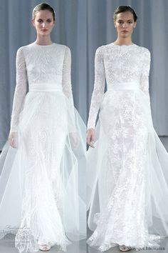 monique lhuillier fall 2013 long sleeve wedding dresses a line tulle over skirt
