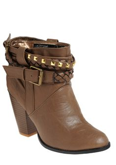 Stud-y As She Goes Boot - Brown, Solid, Braided, Studs, Casual, Boho