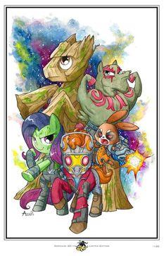 #739673 - angel bunny, artist:agnesgarbowska, bulk biceps, comikazie expo 2014, drax, fluttershy, gamora, groot, guardians of the galaxy, peter quill, rocket raccoon, safe, snowflake, starlord - Derpibooru - My Little Pony: Friendship is Magic Imageboard