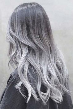 Charcoal Hair Color 33541 27 Silver Hair Ideas for Daring Women Hair Color Blue Silver Ombre Hair, Brown Ombre Hair, Ombre Hair Color, Cool Hair Color, Ash Ombre, White Ombre, Brunette Color, Grey Balayage, Balayage Hair