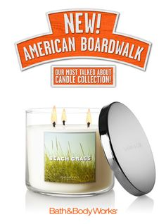 NEW Beach Grass 3-Wick Candle – dewy greens, palmetto grass and sweet white freesia ♥ #AmericanBoardwalk