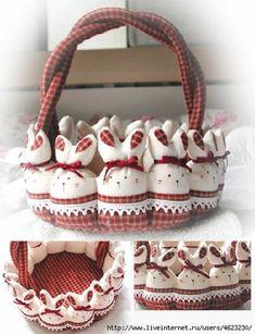 (-`ω´-) - Como fazer cesta de páscoa em tecido passo a passo com coelhinhos de pano para colocar ovos de páscoa. ➽ 23 Modelos de cestas de Páscoa!