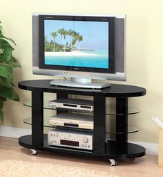 modern tv stands with wheels | Contemporary TV stand Glass Shelves