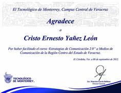 Agradecimiento del ITESM por haber impartido el curso de Estrategias de comunicacion 2.0