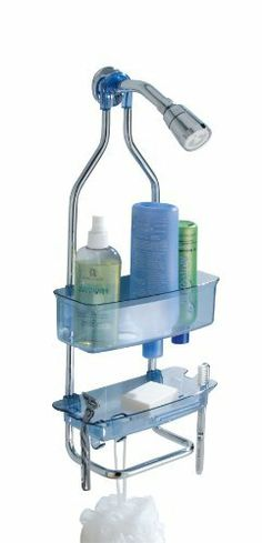 InterDesign Zia Shower Caddy, Ocean by InterDesign. $24.99. Top shelf has holes for drainage. Top shelf has holes hold bottles that dispense from the top in upside down position to get every last drop. 4 slots for razors or toothbrushes. Two hooks for body brushes. Lower bar that is perfect for wash cloths. Organize your shower with Zia Shower Caddy. This bathroom shower caddy has it all. The top plastic shelf will hold all your shampoos, conditioners and body washes -...