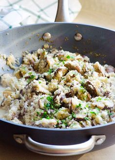 "Mushroom Cauliflower ""Risotto"" - 15 minute light side dish with cauliflower rice, chicken stock and Parmesan cheese."