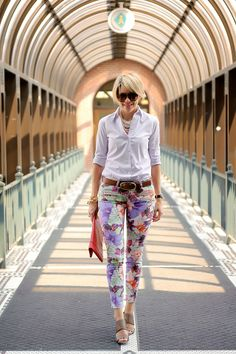 flowered pants & white button down