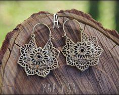 Items similar to Flower macramè earrings mandala dangle boho hippie aqua orange / colorful earrings / handmade earrings/ floral jewelry / textile jewelry on Etsy Macrame Earrings, Tribal Earrings, Flower Earrings, Silver Earrings, Crochet Earrings, Ethnic Jewelry, Boho Jewelry, Handmade Jewelry, Unique Jewelry