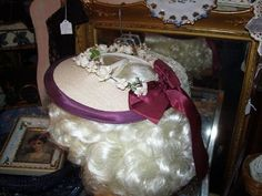 Vintage 1940s Girls Straw Hat Burgandy by LavenderPathAntiques, $24.00