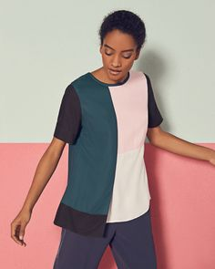 Colour block top - Teal | Tops & Tees | Ted Baker