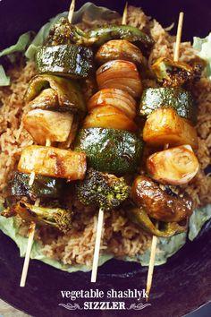Vegetable Sizzler (Shashlyk) « veggiezest May need to modify sauce slightly to reduce calories.    Looks wonderful