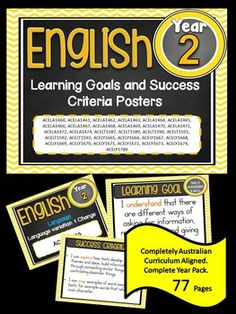 Grade 1 All English Learning Goals & Success Criteria! This packet has all the posters you will need to display the learning goals for the whole year: Grade 1 Australian Curriculum English – Reading and Writing – Speaking and Listening (Language, Litera Education And Literacy, Primary Education, Year 2 Classroom, Classroom Ideas, Classroom Organisation, Classroom Displays, Classroom Management, Visible Learning, Curriculum Design