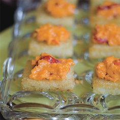 Grits Cakes with Pimiento Cheese | http://www.rachaelraymag.com/Recipes/rachael-ray-magazine-recipe-search/appetizer-starter-recipes/grits-cakes-with-pimiento-cheese