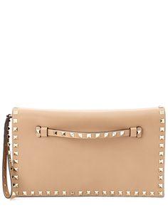 "Valentino ""Rockstud"" Leather Clutch  $1,279.99 $1,595.00"