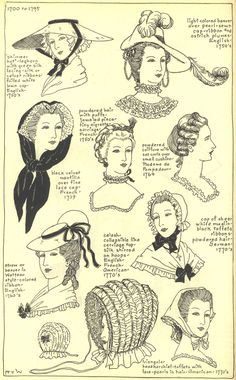 This is an example of different types of hats from the 1740-60's.