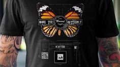 Custom Vintage Design T-SHIRT with Augmented Reality enabled : Video : Herman van Deventer : AR 10 Technologies : Music : Copyright Free : The Passion Hi Fi . Butterflies Flying, Monarch Butterfly, Augmented Reality, Vintage Designs, Inventions, South Africa, Crown, Tees, Mens Tops