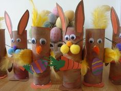 Paper towel roll Easter Bunnies & chicks.  I made one of these in 4th grade (my original idea) for county fair and won 1st place.