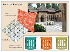 Inspired by Moroccan architecture, these current accents - tile, furniture, & pillow - Rock the Kasbah!
