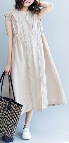 bd8fb6132a1dd Elegant burgundy cotton linen knee dress trendy plus size cotton linen clothing  dresses new Sleeveless wrinkled v neck baggy dresses